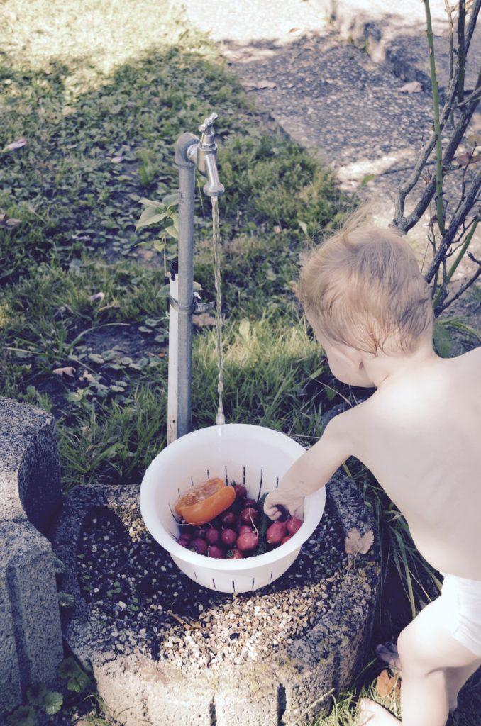 Gemüse waschen an der eigenen Wasserstelle.